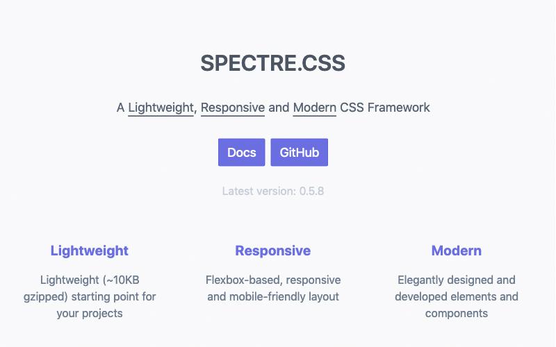 Spectre Lightweight, Responsive And Modern Css Framework