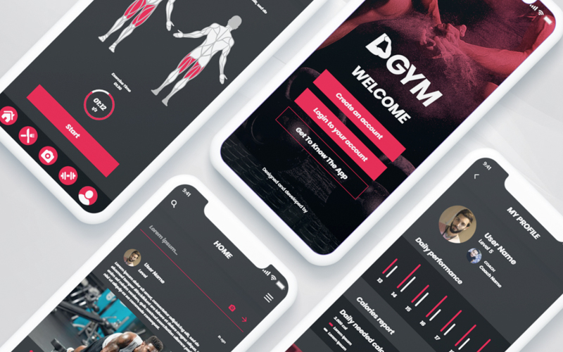 Dgym Fitness And Workout Mobile Application Ui Kit