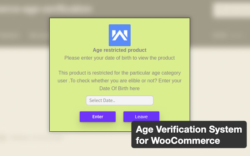 Age Verification System For Woocommerce