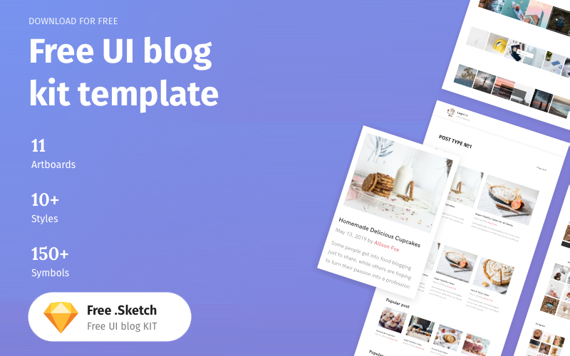 Free Sketch Ui Kit Blog Template